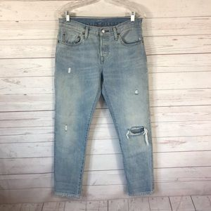 Levis 501 CT Tapered Selvege Light Wash Jeans